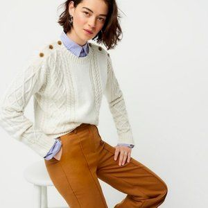 J.Crew $120 Mixed Cable-Knit Sweater Ivory Size M